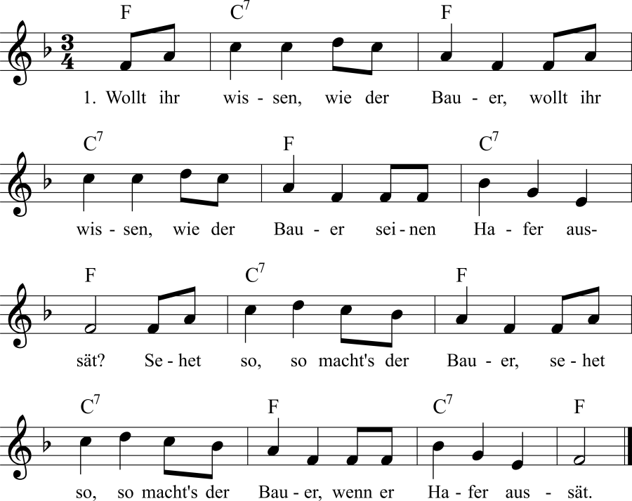 Musiknoten zum Lied Wollt ihr wissen, wie der Bauer