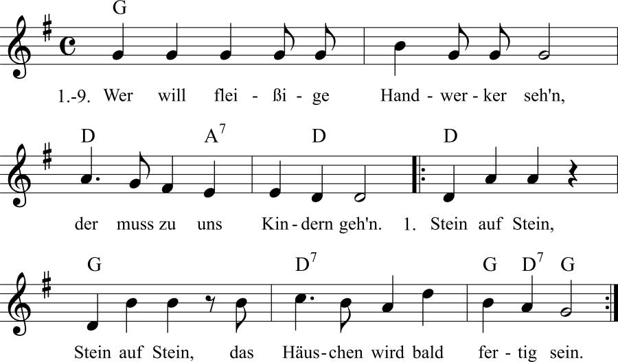 Musiknoten zum Lied Wer will fleißige Handwerker seh'n