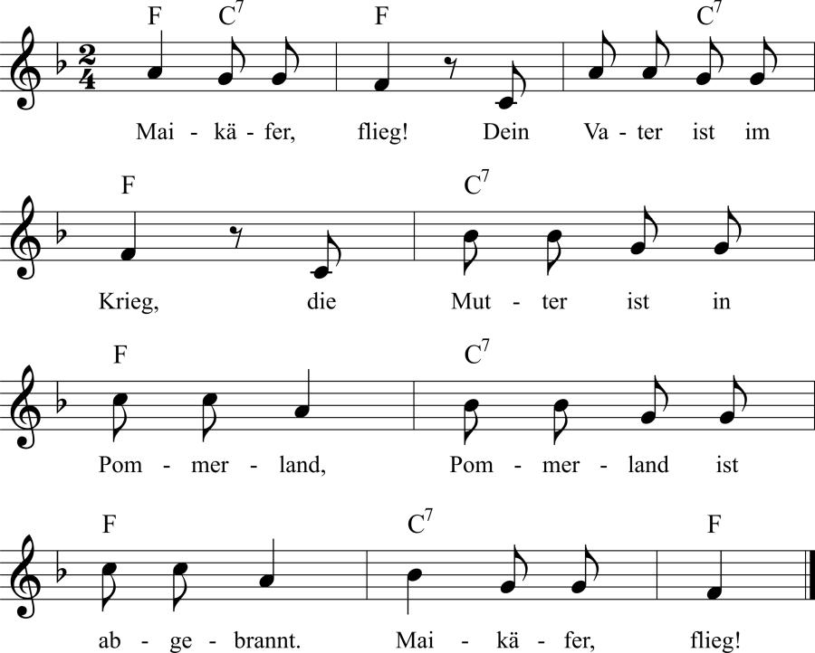 Musiknoten zum Lied Maikäfer, flieg!