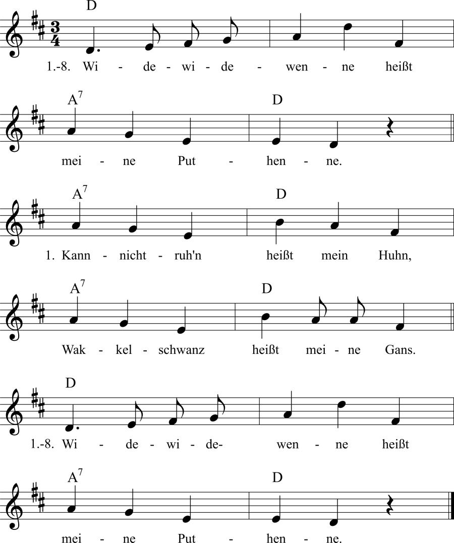Musiknoten zum Lied Widewidewenne heißt meine Putehenne