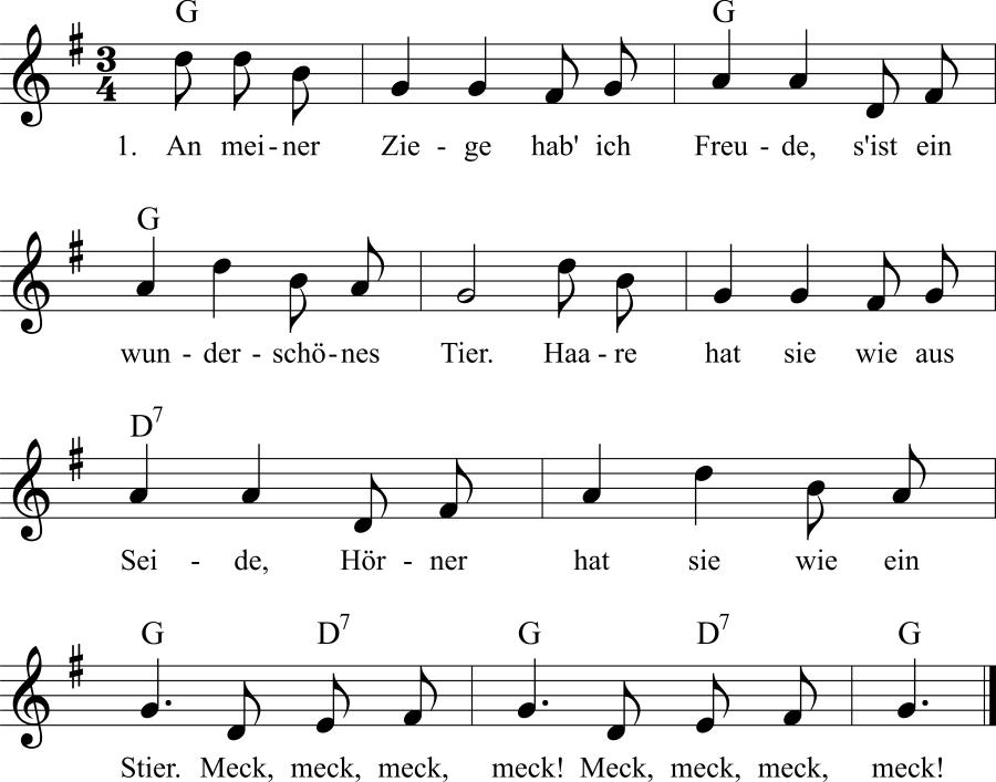 Musiknoten zum Lied An meiner Ziege hab' ich Freude