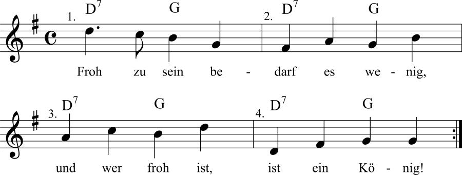 Musiknoten zum Lied Froh zu sein bedarf es wenig