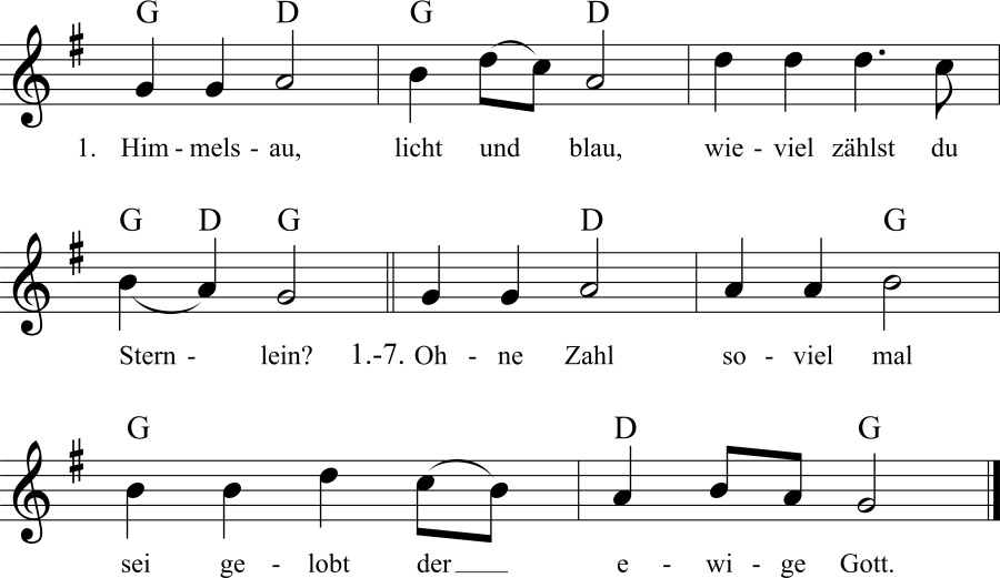 Musiknoten zum Lied Himmelsau, licht und blau