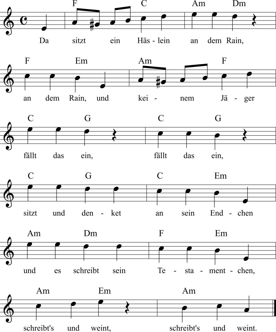 Musiknoten zum Lied Häsleins Klage