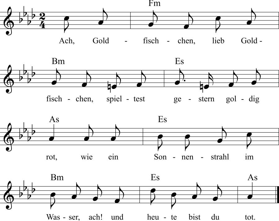 Musiknoten zum Lied Mein liebes Goldfischchen!