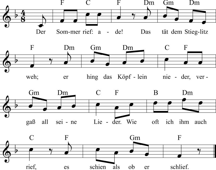 Musiknoten zum Lied Der Stieglitz