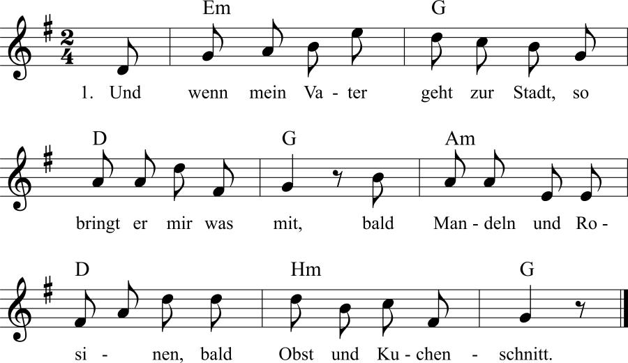 Musiknoten zum Lied Hasenbrot