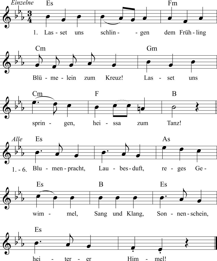 Musiknoten zum Lied Willkommen Frühling