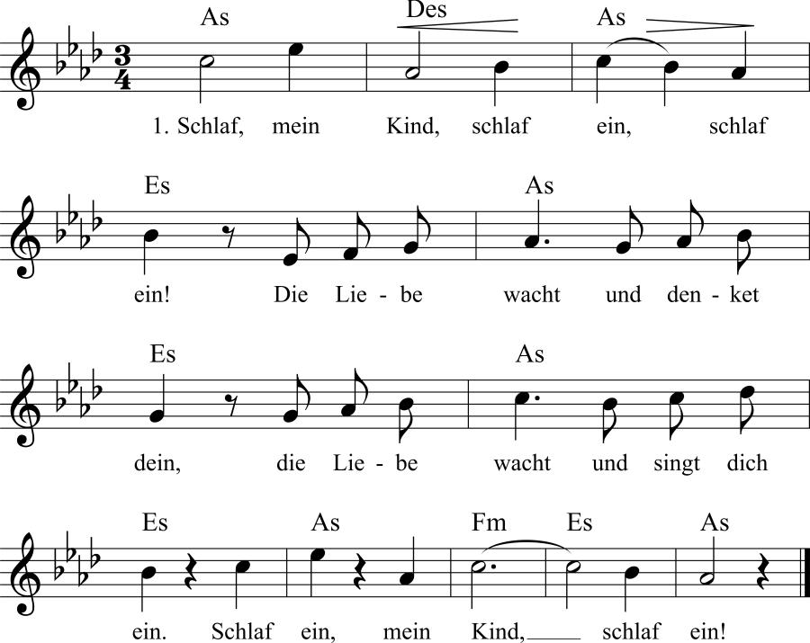 Musiknoten zum Lied Wiegenlied