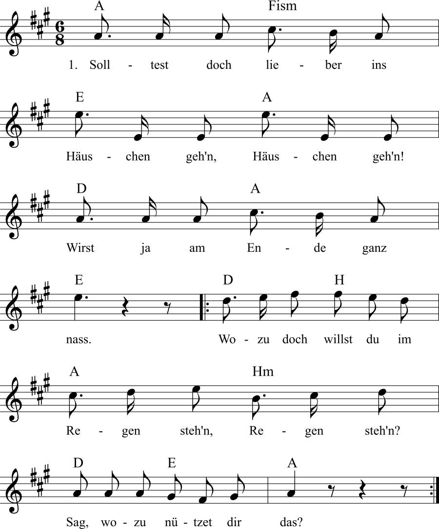 Musiknoten zum Lied Mairegen