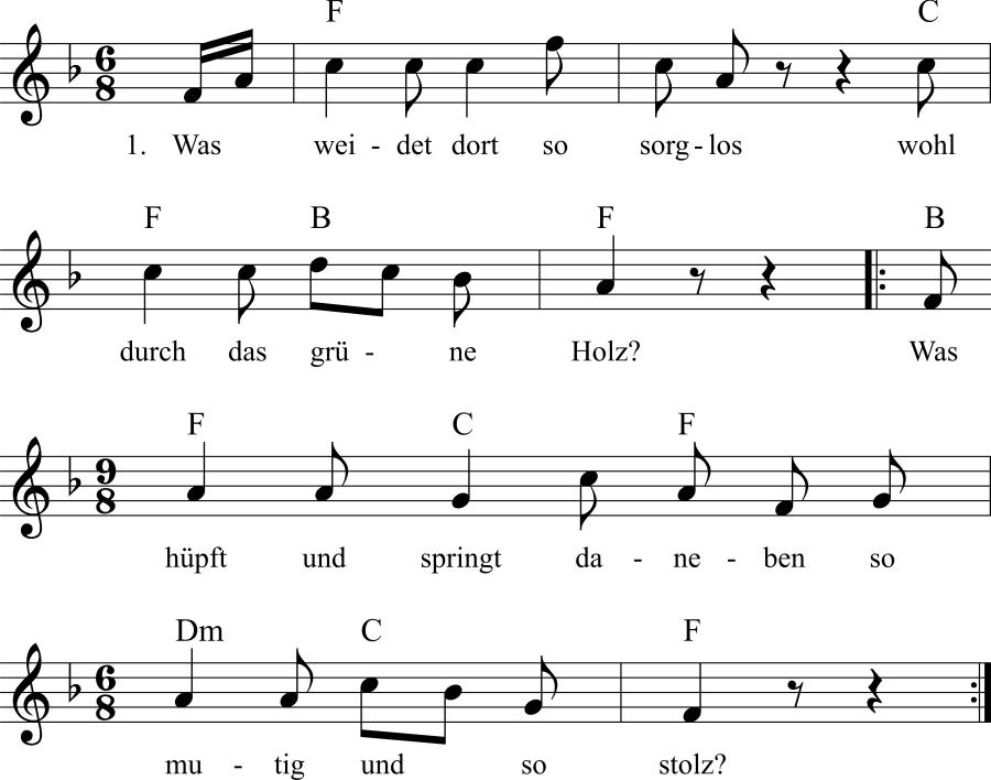 Musiknoten zum Lied Mutterliebe