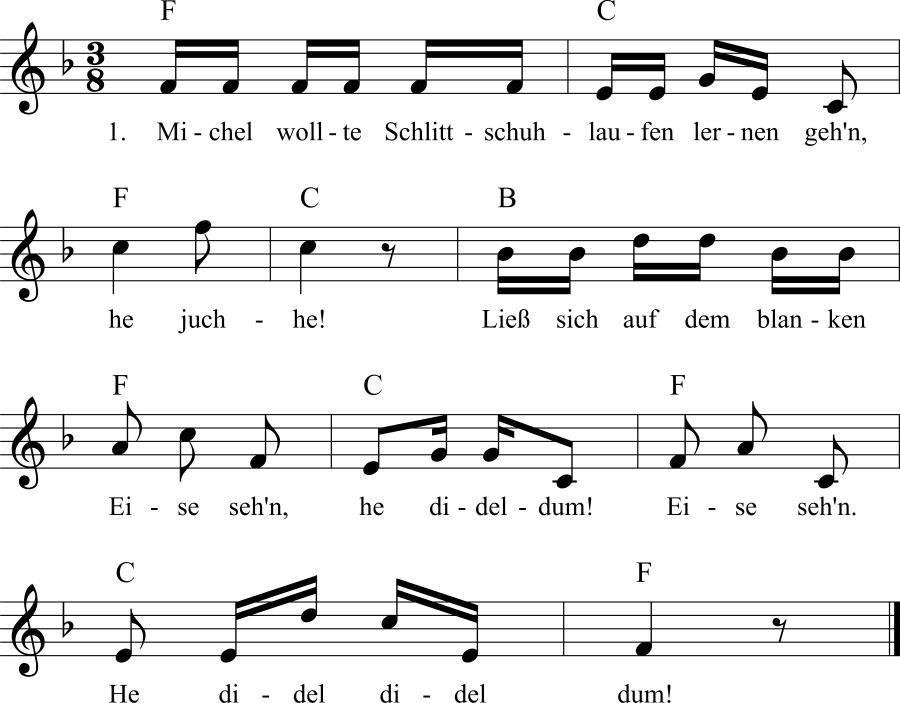 Musiknoten zum Lied Aller Anfang ist schwer