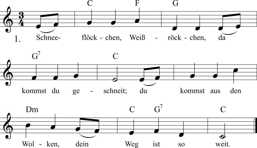 Musiknoten zum Lied Schneeflöckchen, Weißröckchen