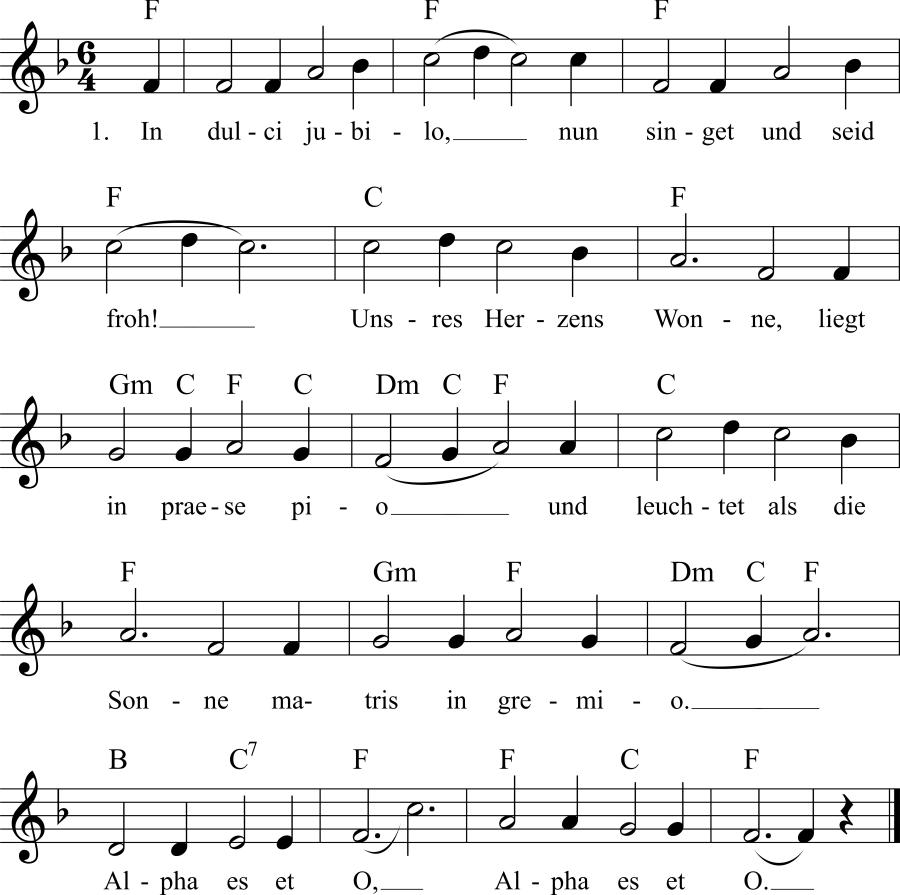 Musiknoten zum Lied In dulci jubilo