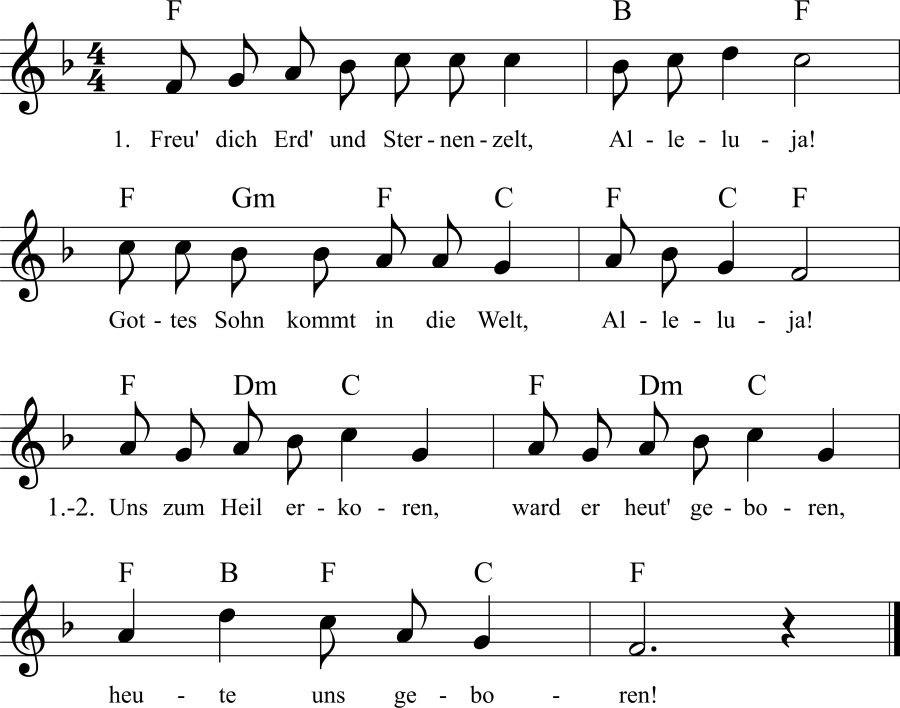 Musiknoten zum Lied Freu' dich, Erd' und Sternenzelt