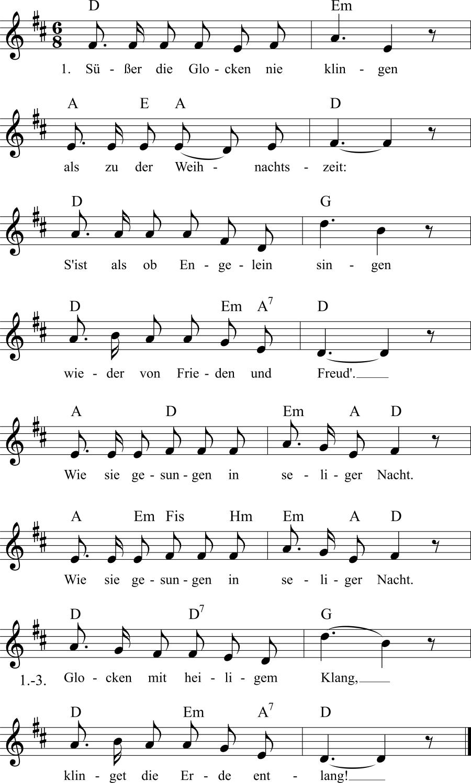 Musiknoten zum Lied Süßer die Glocken nie klingen
