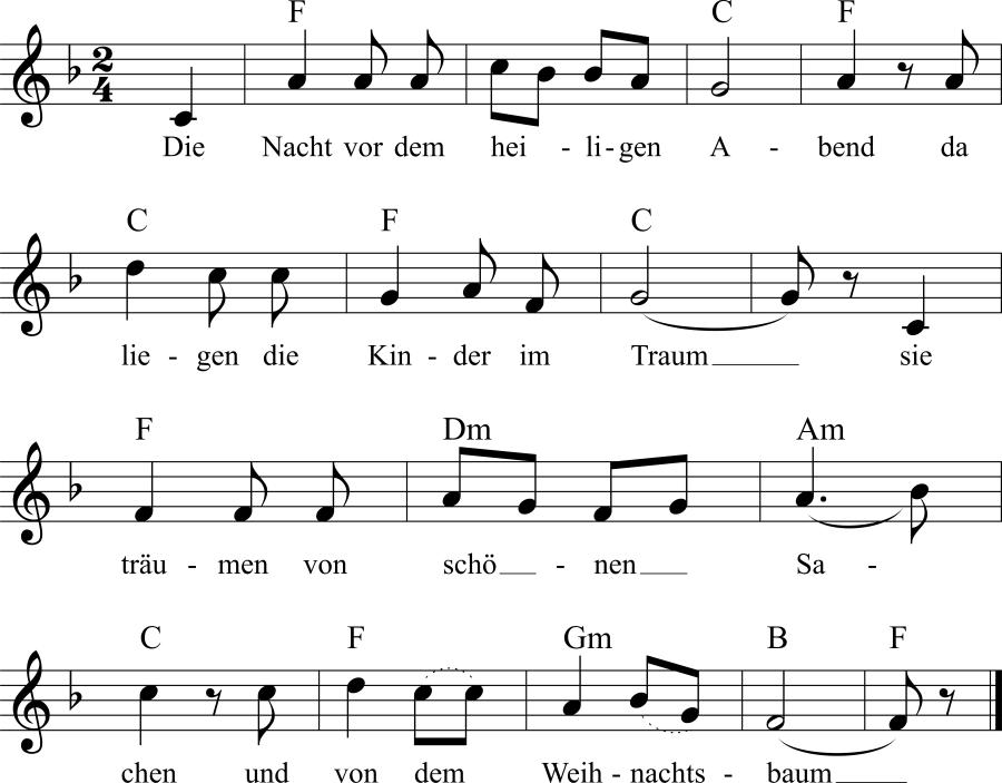 Musiknoten zum Lied Christkind