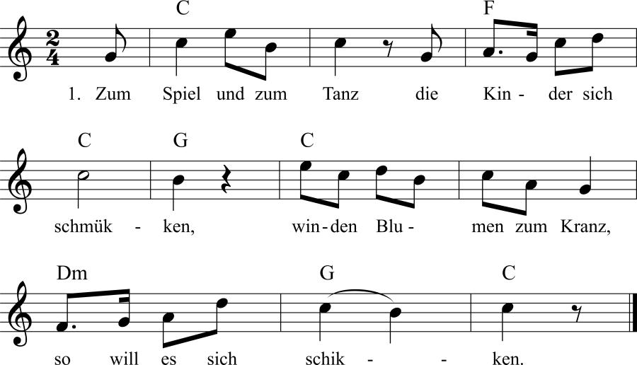 Musiknoten zum Lied Kinderliedchen