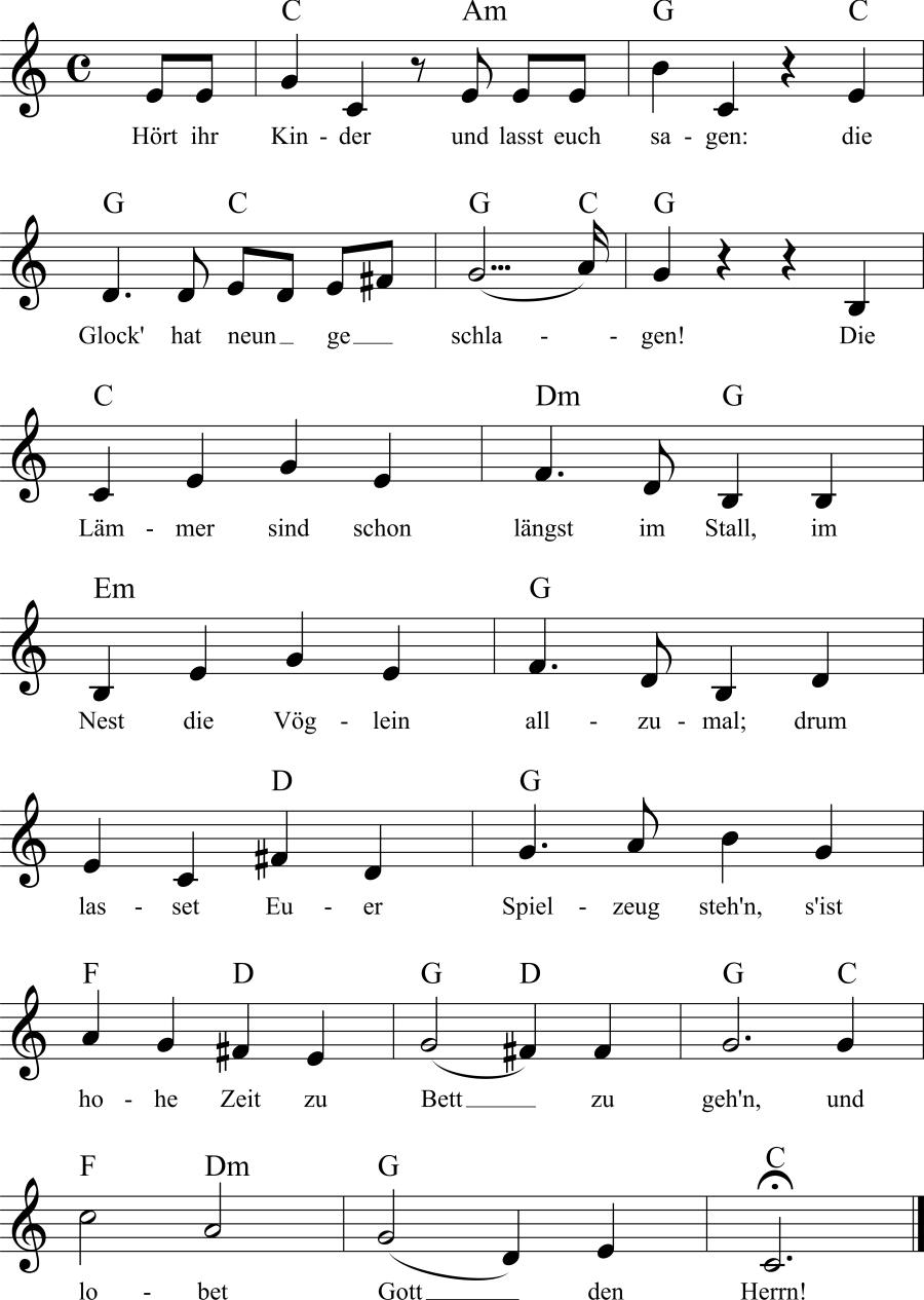 Musiknoten zum Lied Nachtwächter