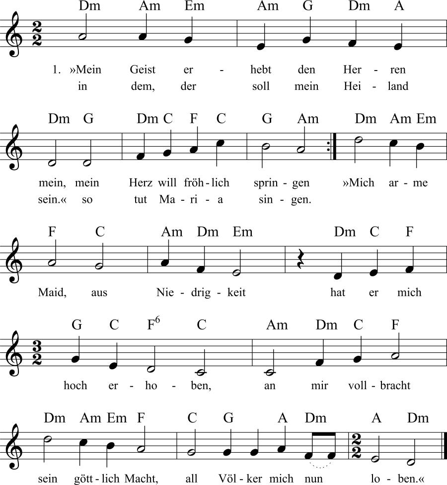 Musiknoten zum Lied Mein Geist erhebt den Herren mein
