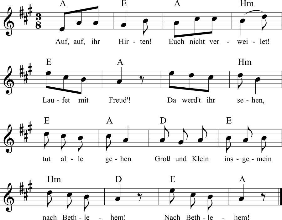 Musiknoten zum Lied Weihnachtsjubel