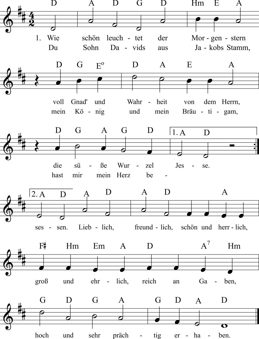Musiknoten zum Lied Wie schön leuchtet der Morgenstern