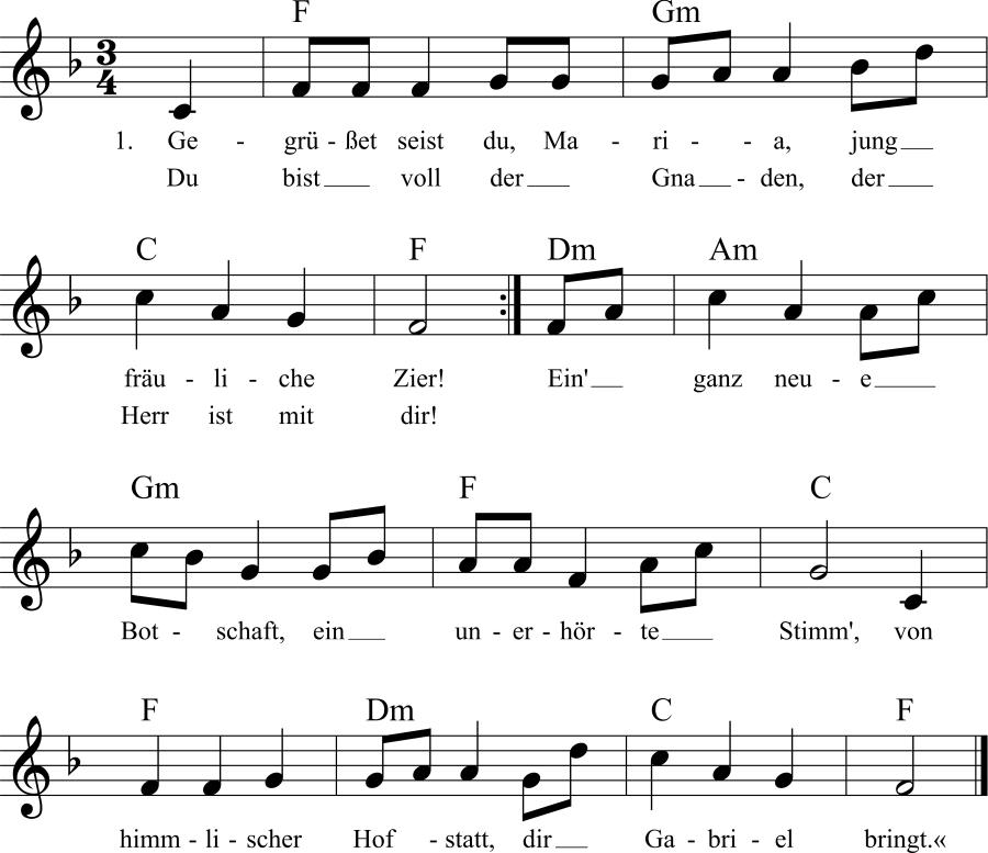 Musiknoten zum Lied Gegrüßet seist du, Maria, jungfräuliche Zier!