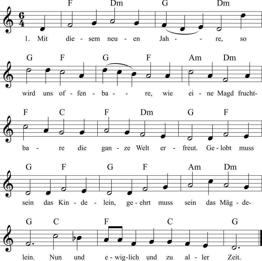 Musiknoten zum Lied Mit diesem neuen Jahre