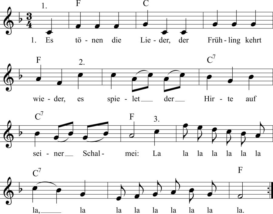 Musiknoten zum Lied Es tönen die Lieder