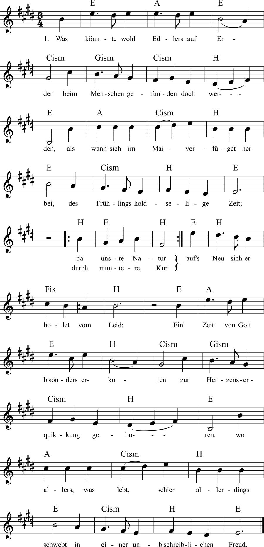 Musiknoten zum Lied Was könnte wohl Edlers auf Erden