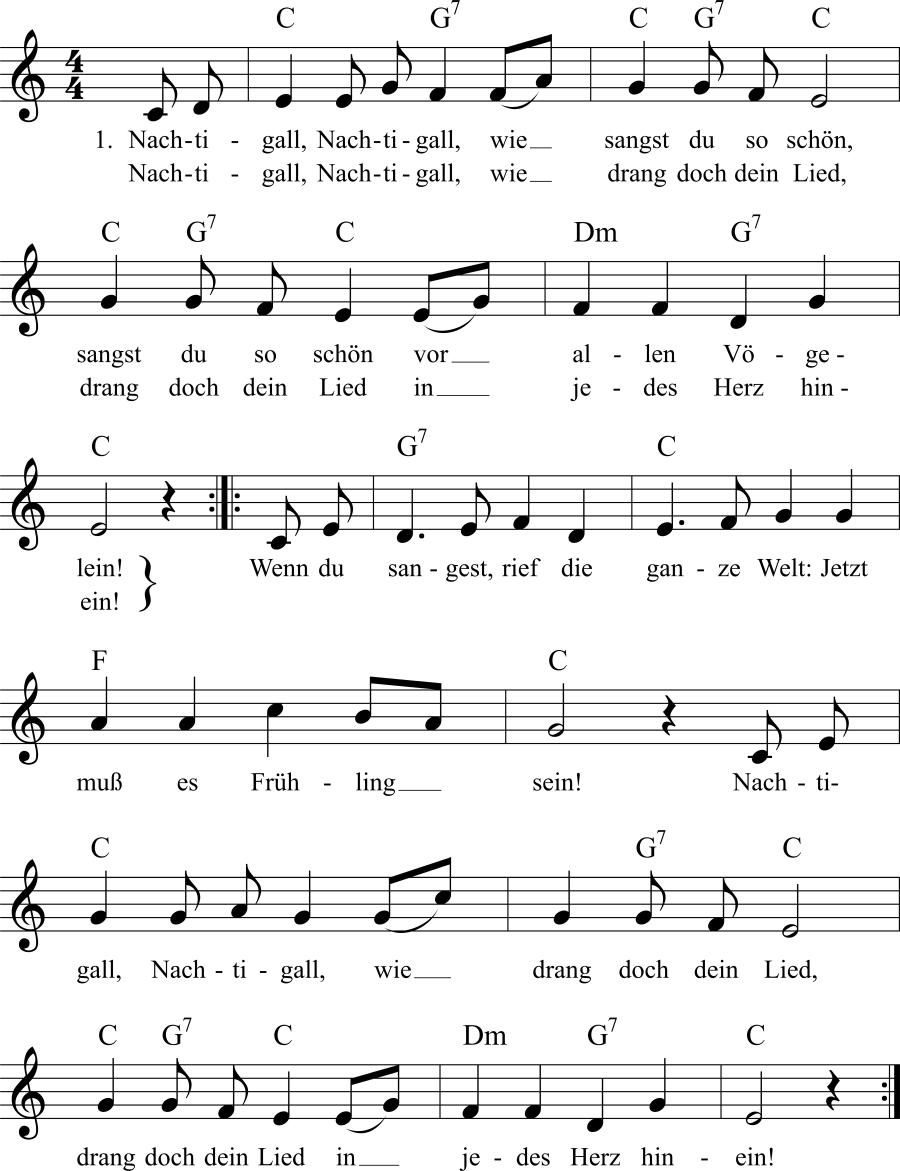Musiknoten zum Lied Nachtigall, wie sangst du so schön