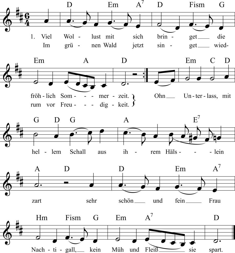 Musiknoten zum Lied Viel Wollust mit sich bringet