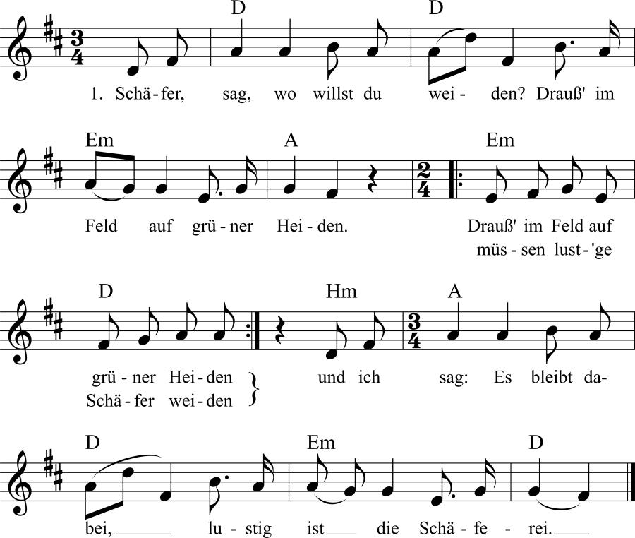 Musiknoten zum Lied Schäfer, sag wo willst du weiden?