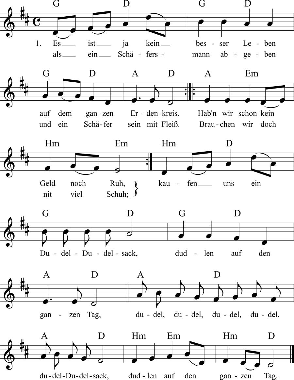 Musiknoten zum Lied Es ist ja kein besser Leben
