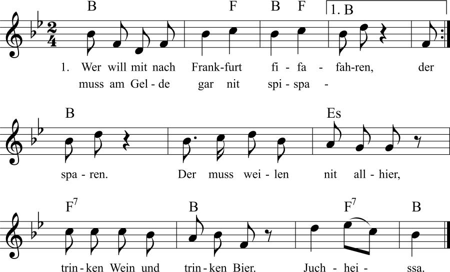 Musiknoten zum Lied Wer will mit nach Frankfurt fahren