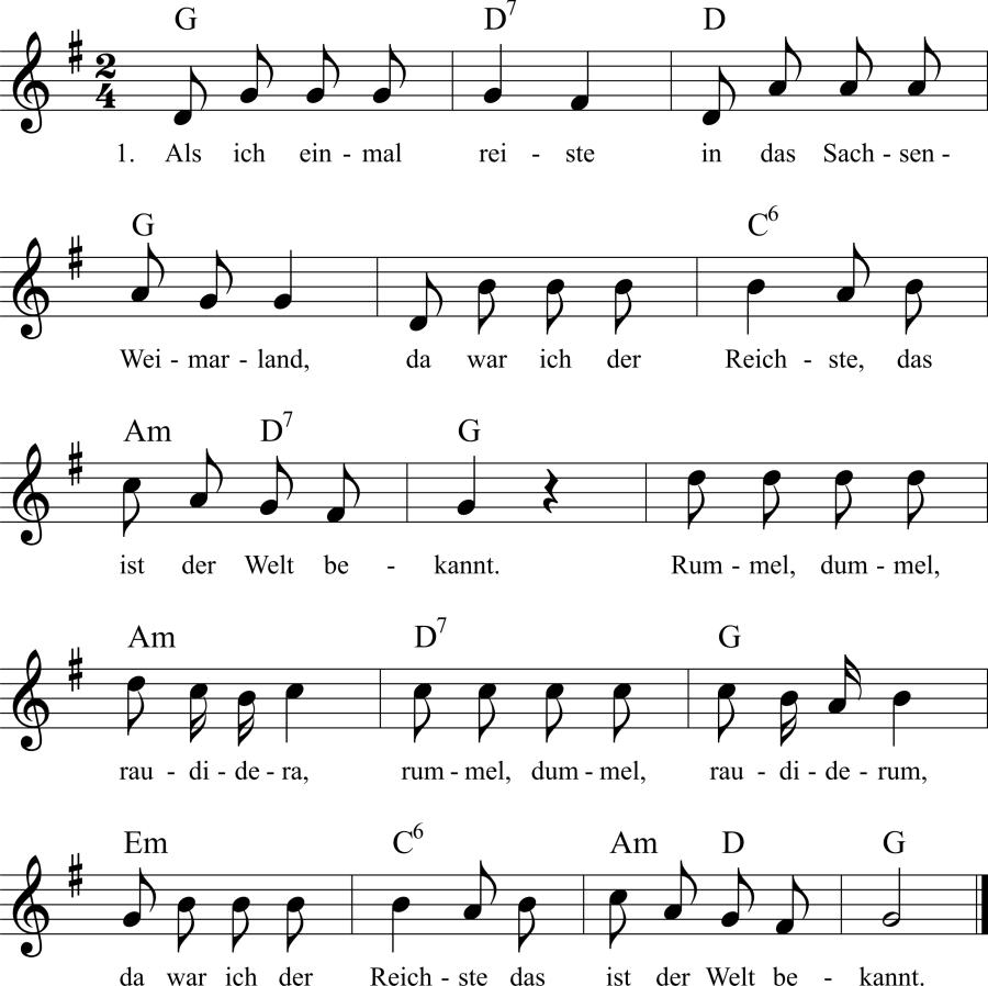 Musiknoten zum Lied Als ich einmal reiste