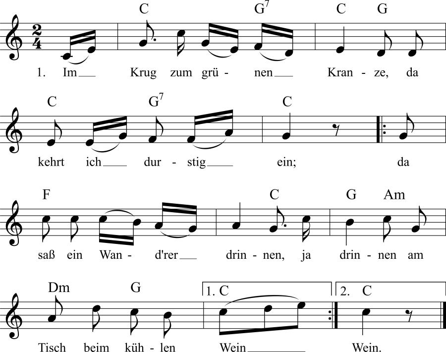 Musiknoten zum Lied Im Krug zum grünen Kranze