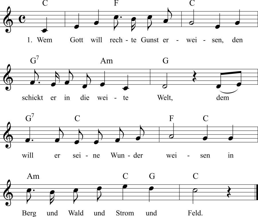 Musiknoten zum Lied Wem Gott will rechte Gunst erweisen