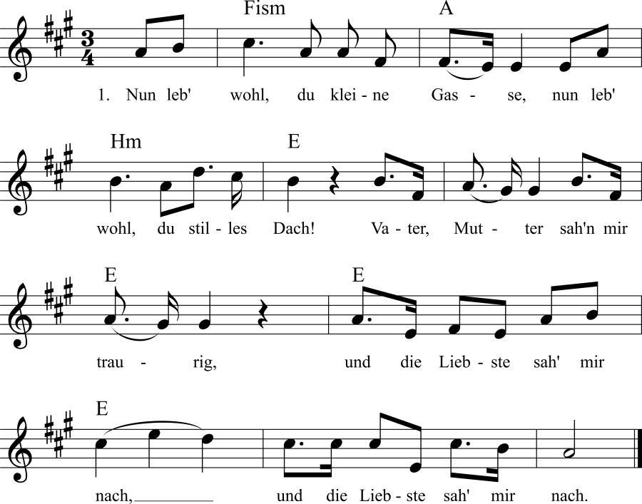Musiknoten zum Lied Nun leb' wohl , du kleine Gasse