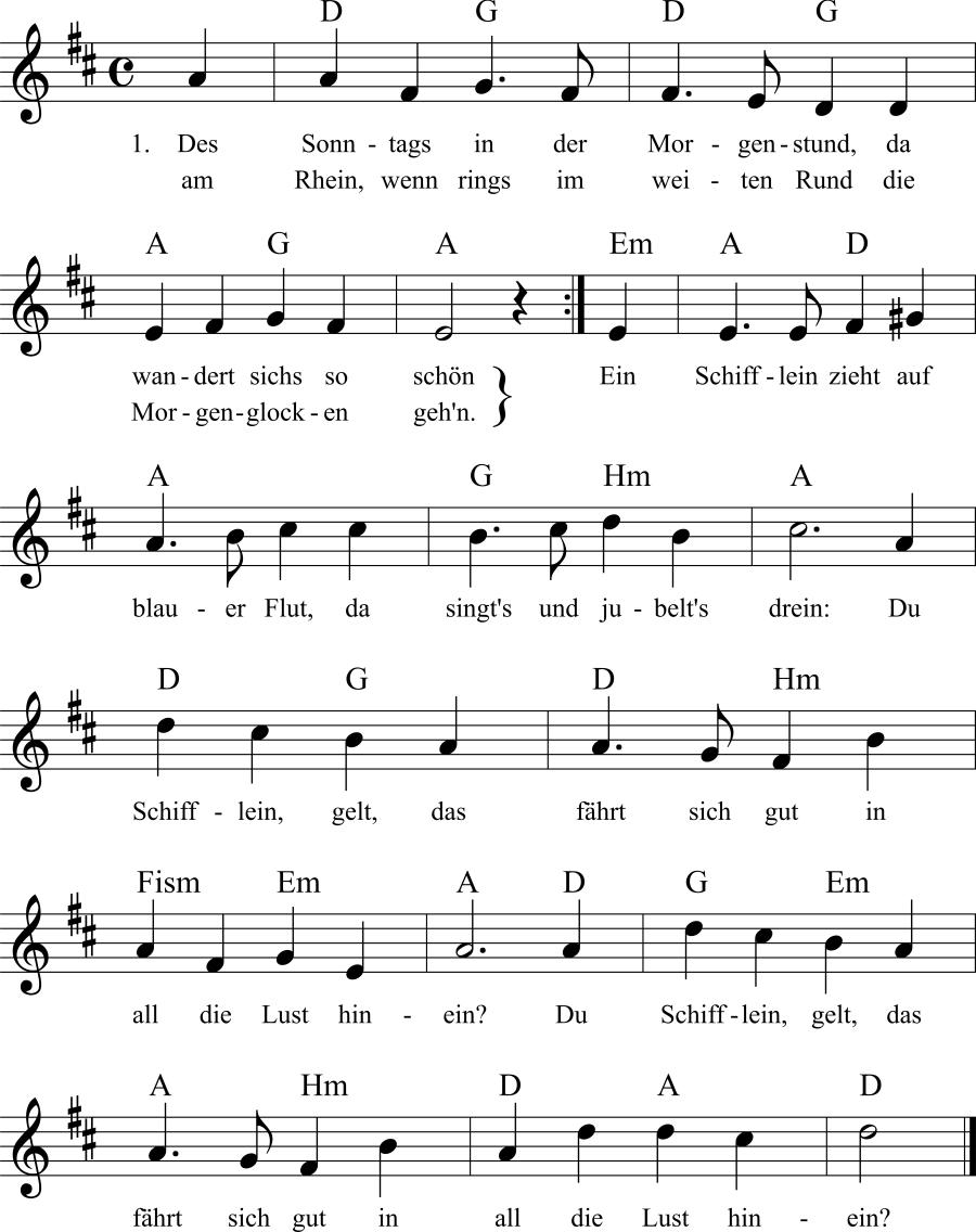 Musiknoten zum Lied Des Sonntags in der Morgenstund