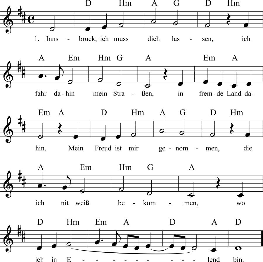 Musiknoten zum Lied Innsbruck, ich muß dich lassen