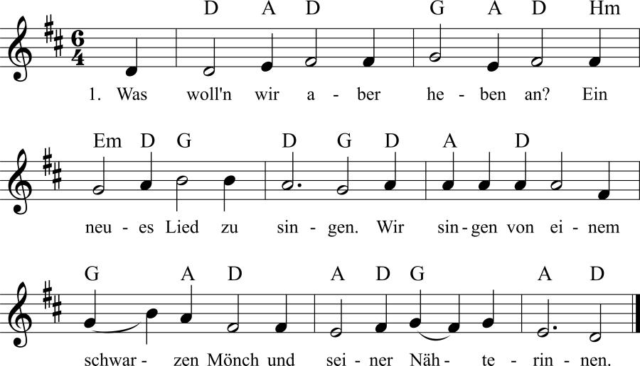 Musiknoten zum Lied Was wolln wir aber heben an?