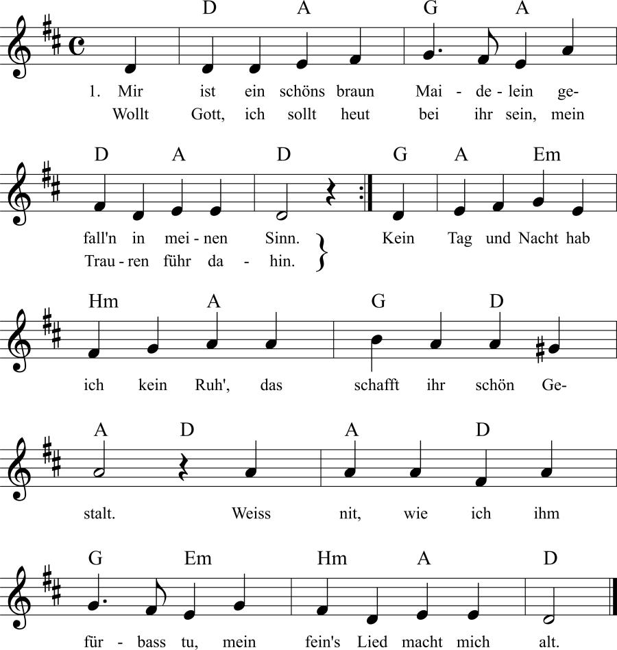 Musiknoten zum Lied Mir ist ein schöns braun Maidelein