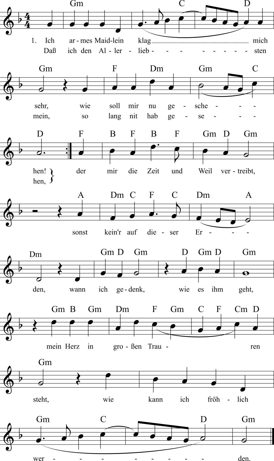 Musiknoten zum Lied Ich armes Maidlein klag mich sehr
