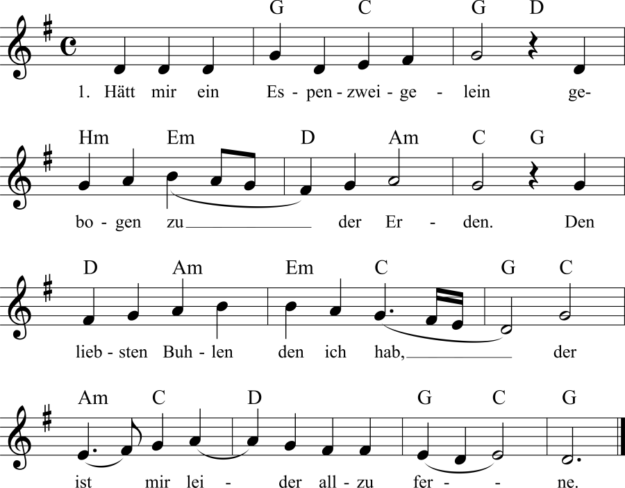 Musiknoten zum Lied Hätt mir ein Espenzweiglein