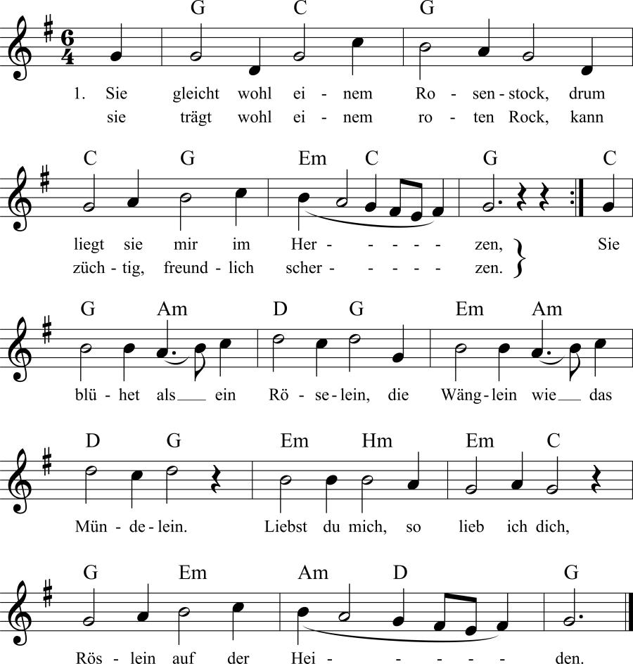 Musiknoten zum Lied Sie gleicht wohl einem Rosenstock