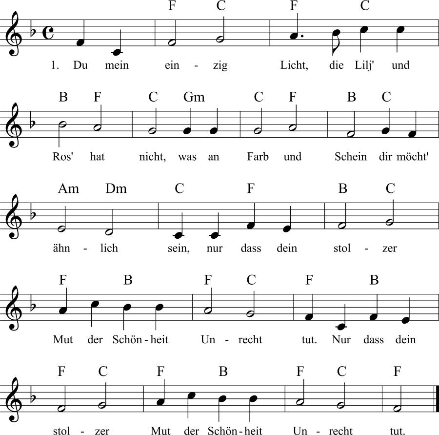 Musiknoten zum Lied Du mein einzig Licht