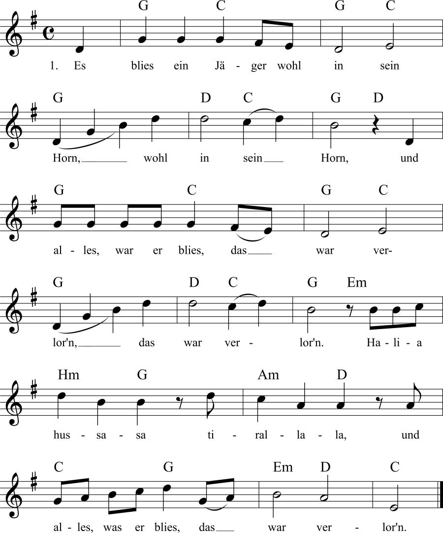 Musiknoten zum Lied Es blies ein Jäger wohl in sein Horn