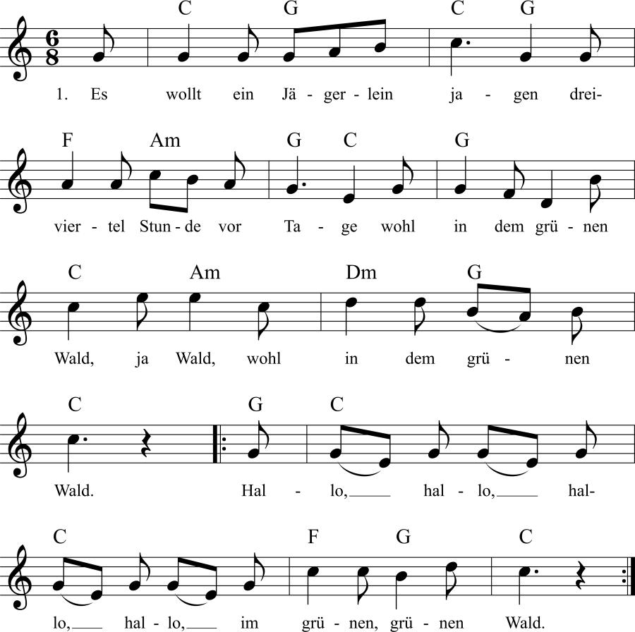 Musiknoten zum Lied Es wollt ein Jägerlein jagen