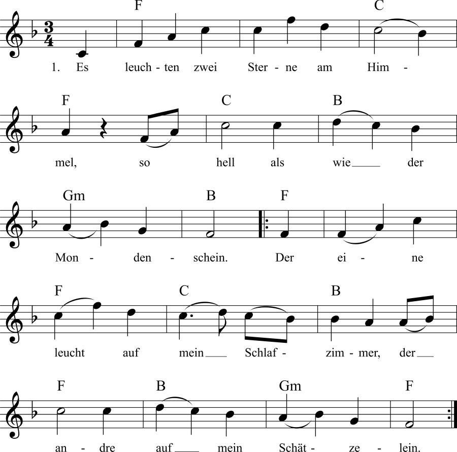 Musiknoten zum Lied Es leuchten zwei Sterne am Himmel